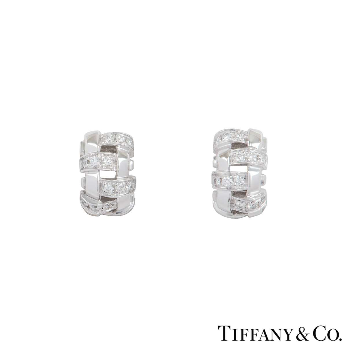 Tiffany & Co. White Gold Lattice Diamond Earrings